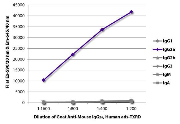 Abbildung: Ziege IgG anti-Maus IgG2a (Fc)-Texas Red, MinX Hu