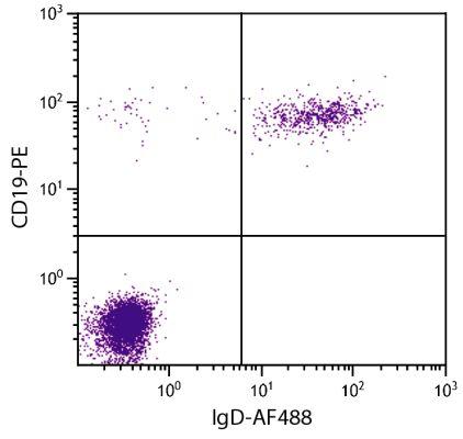 Abbildung: Ziege F(ab')2 anti-Human IgD-Alexa Fluor 488, MinX keine