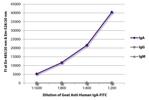 Abbildung: Ziege IgG anti-Human IgA-FITC, MinX keine