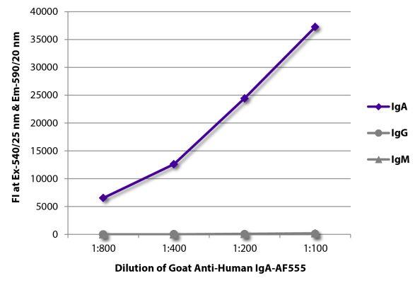 Abbildung: Ziege IgG anti-Human IgA-Alexa Fluor 555, MinX keine