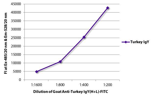 Abbildung: Ziege IgG anti-Truthahn IgY (H+L)-FITC, MinX keine