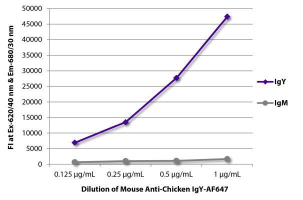 Abbildung: Maus IgG anti-Huhn IgY (H+L)-Alexa Fluor 647, MinX keine