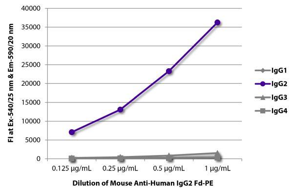 Abbildung: Maus IgG anti-Human IgG2 (Fd)-RPE, MinX keine