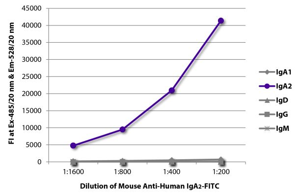 Abbildung: Maus IgG anti-Human IgA2-FITC, MinX keine