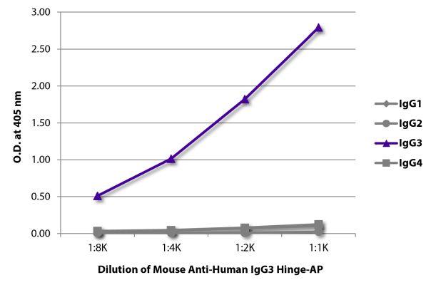 Abbildung: Maus IgG anti-Human IgG3 (hinge)-Alk. Phos., MinX keine